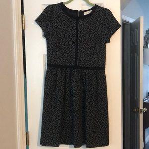 Loft black and grey cheetah print dress